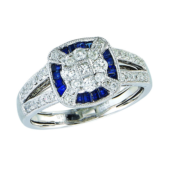 14k White Gold Vintage Diamond and Sapphire Ring