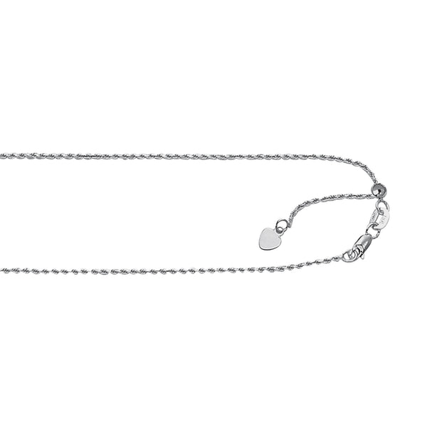 "Sterling Silver Adjustable Rope Chain 22"" 1.0 mm"