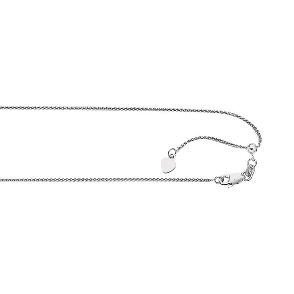 "Sterling Silver Adjustable Wheat Chain 24"" 1.4 mm"