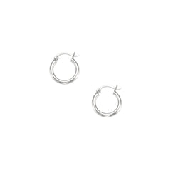 10k White Gold Hoop Earrings 2.0x15mm