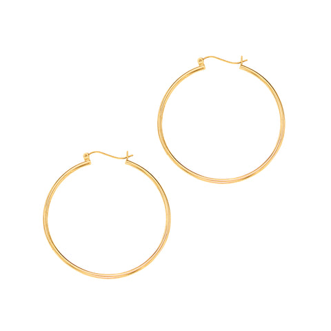 10k Gold Hoop Earrings 1.5x40mm