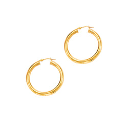 14k Gold Hoop Earrings 3.0x20mm