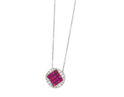 14k White Gold Diamond and Ruby Pendant Necklace