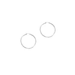 14k White Gold Hoops Earrings 1.5x30mm