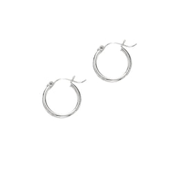 14k White Gold Hoop Earrings 2.0x20mm