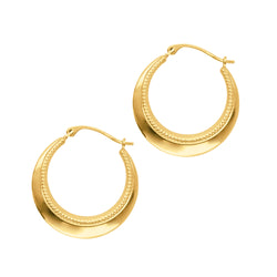 10k Gold Crescent Hoop Earrings High Polish