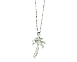 Silver Palm Tree Pendant Necklace