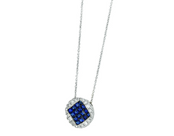 14k White Gold Diamond and Sapphire Pendant Necklace