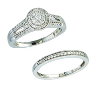 10k White Gold Diamond Engagement Rings Set