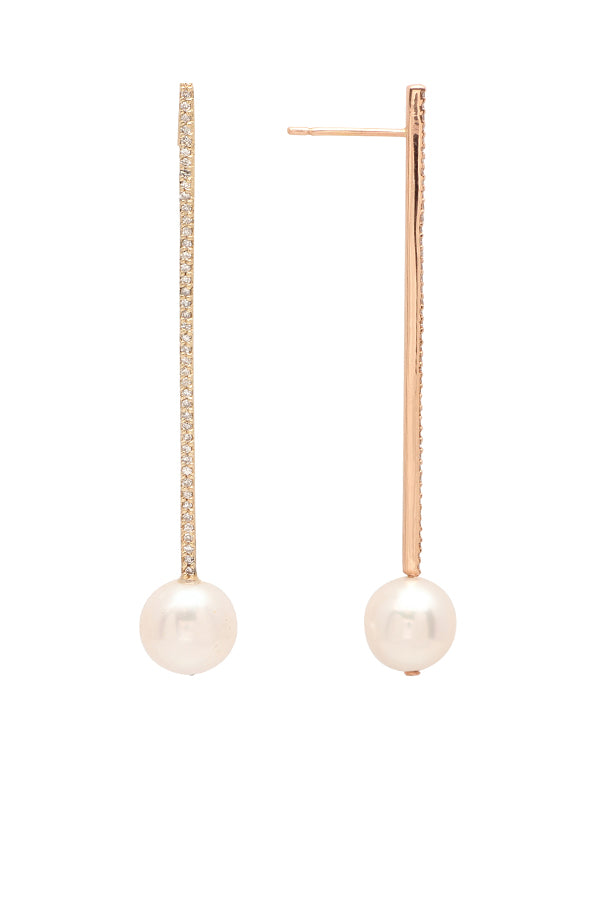 Long Diamond Bar and Pearl Earrings