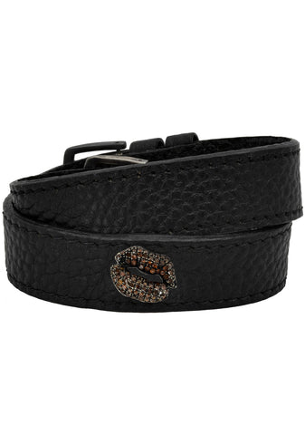 Big Bliss Kiss Leather Choker