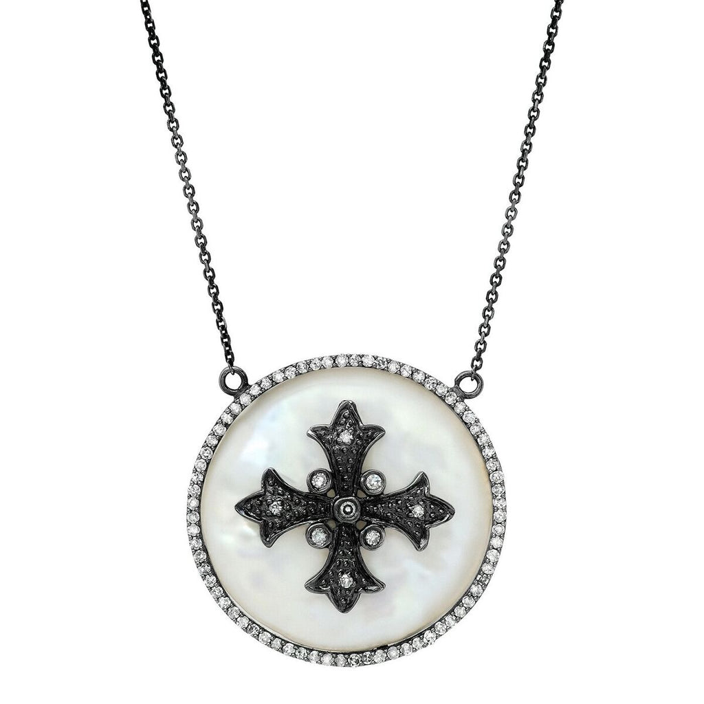 Bezeled Cross Erminee Necklace