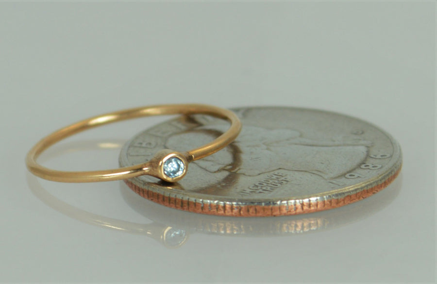 Tiny 14k Solid Rose Gold Aquamarine Ring