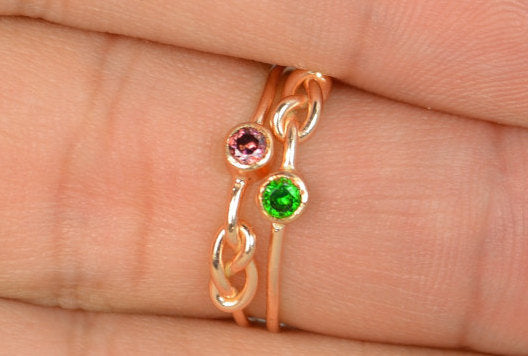 Rose Gold Filled Emerald Infinity Ring