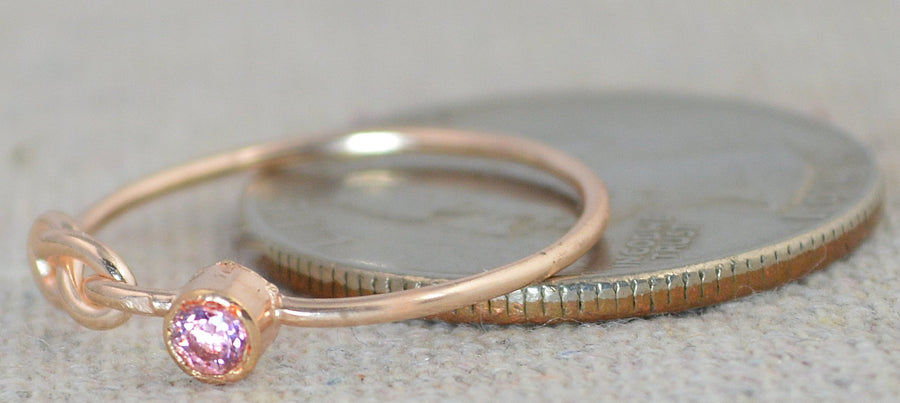 Rose Gold Filled Pink Tourmaline Infinity Ring