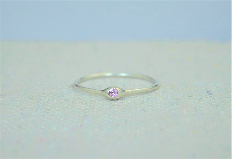 Dainty Sterling Silver Pink Tourmaline Dew Drop Mother's Ring