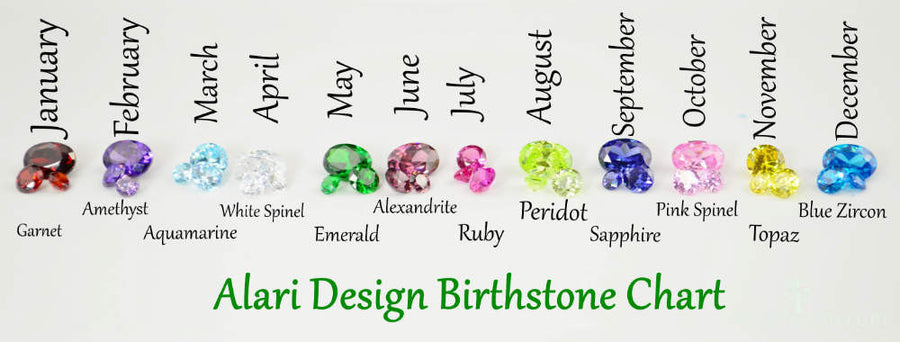 White Gold Square birthstone Rings