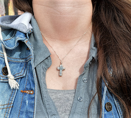 Bohemian Silver Cross Necklace