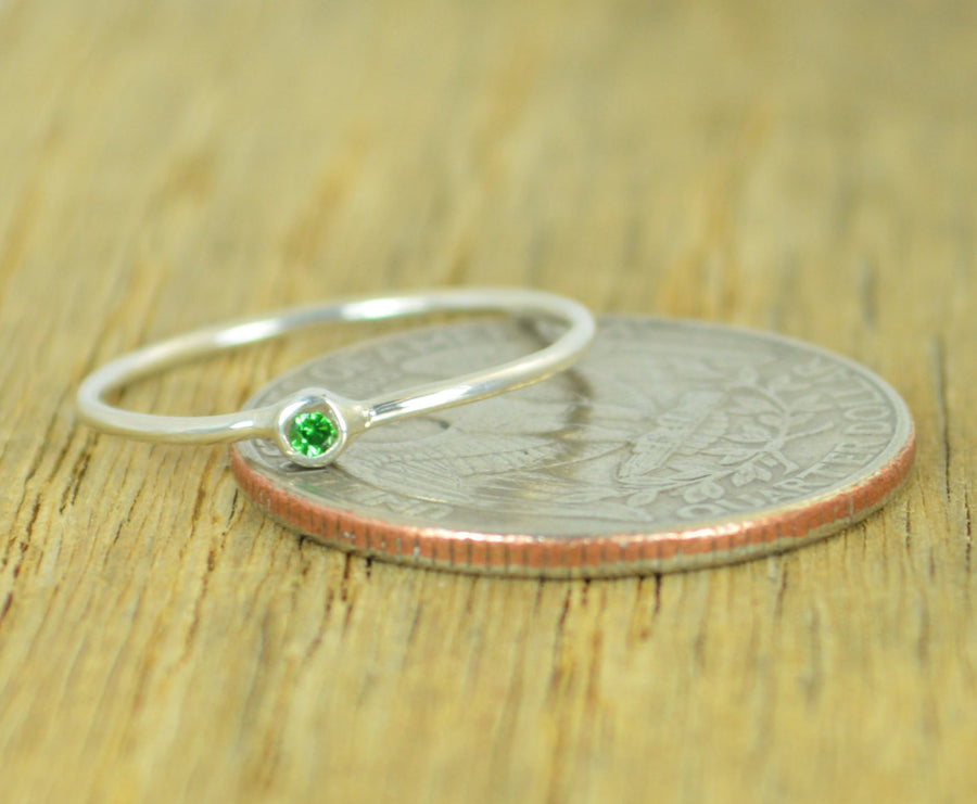 Tiny Sterling Silver Emerald Ring
