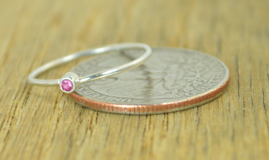 Tiny Sterling Silver Ruby Ring