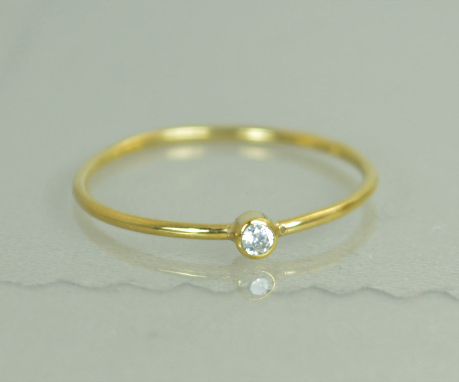 Tiny Solid 14k Gold Diamond Ring
