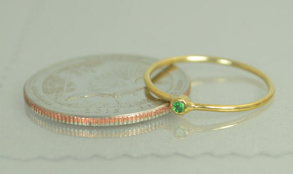 Tiny Solid Gold Emerald Ring