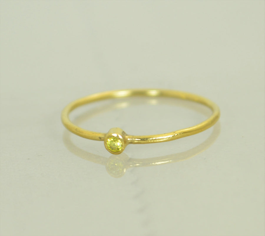 Tiny Solid 14k Gold Topaz Ring