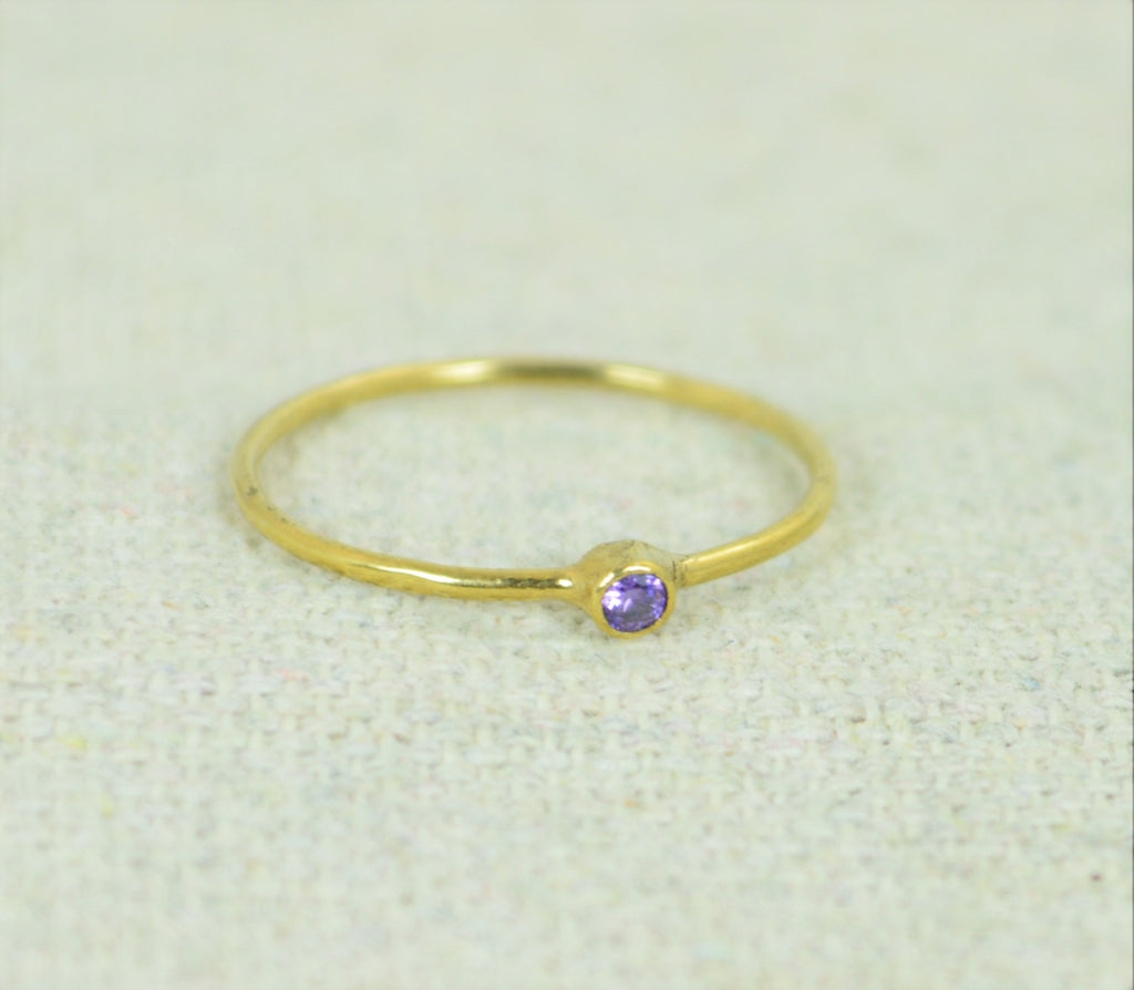 Tiny Gold Filled Amethyst Ring