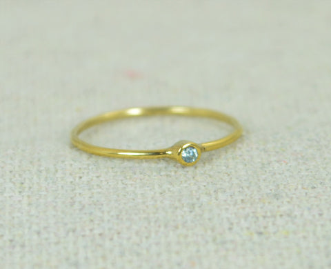 Tiny Gold Filled Aquamarine Ring