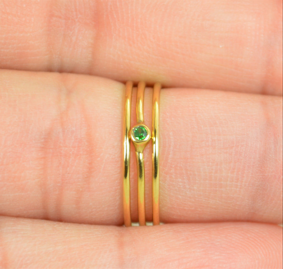 Tiny Gold Filled CZ Emerald Ring
