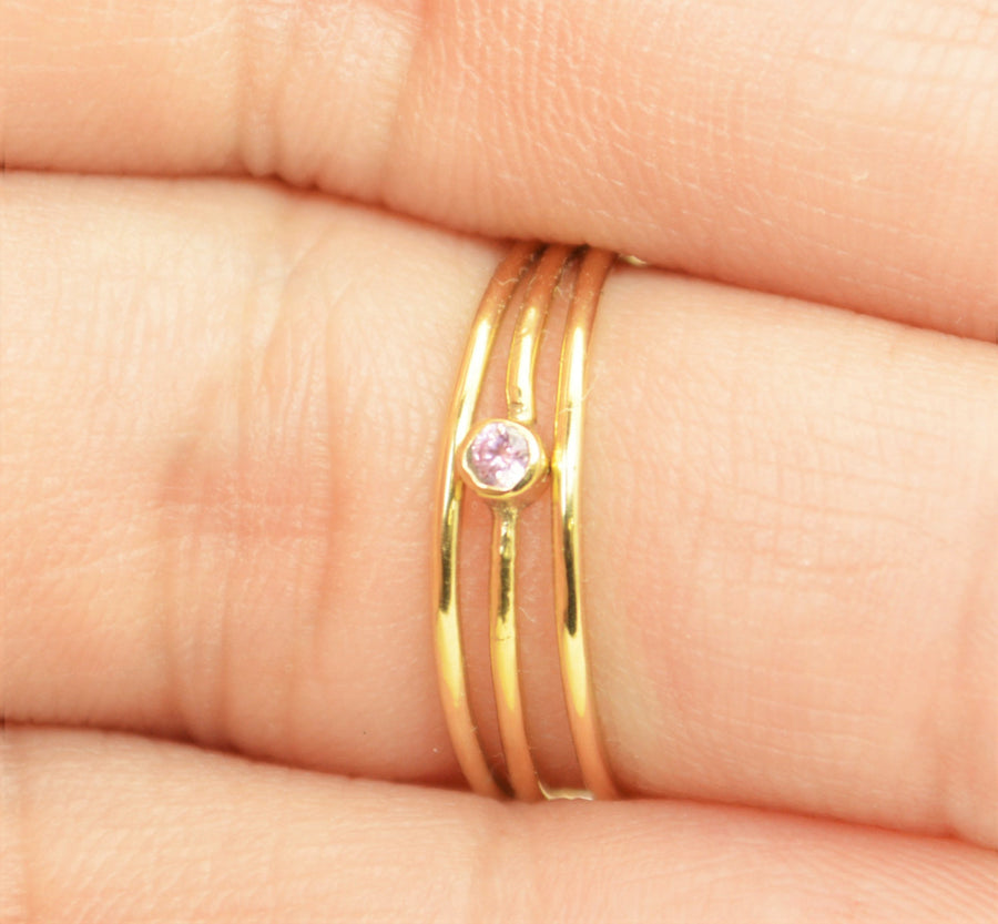 Tiny Gold Filled Pink Tourmaline Ring