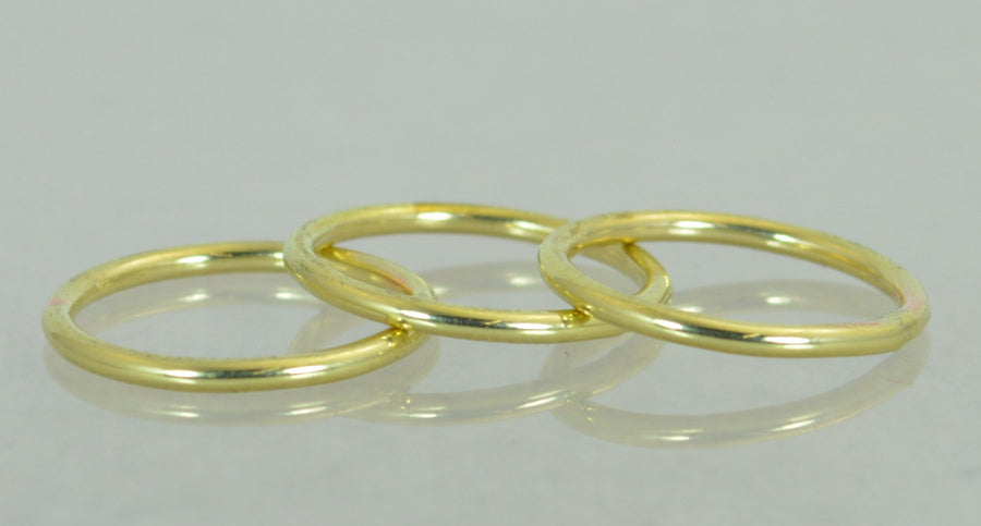 Round Classic Brass Stacking Rings