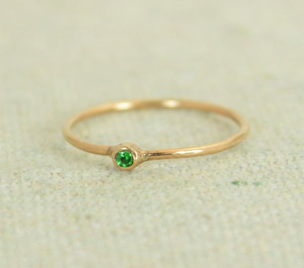 Tiny Rose Gold Filled Emerald Ring