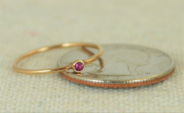 Tiny Rose Gold Filled Ruby Ring