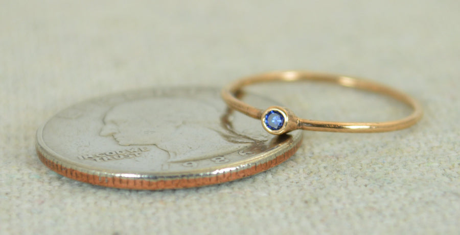 Tiny Rose Gold Filled Sapphire Ring