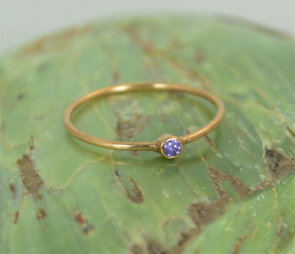 Tiny Solid Gold Amethyst Ring