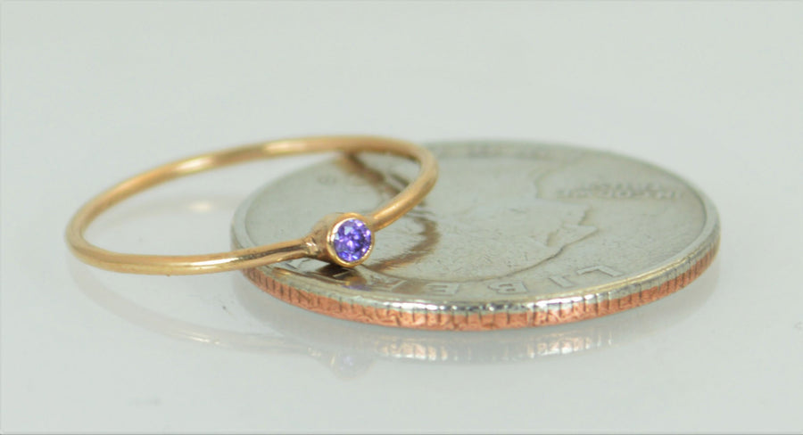 Tiny Solid 14k Rose Gold Amethyst Ring
