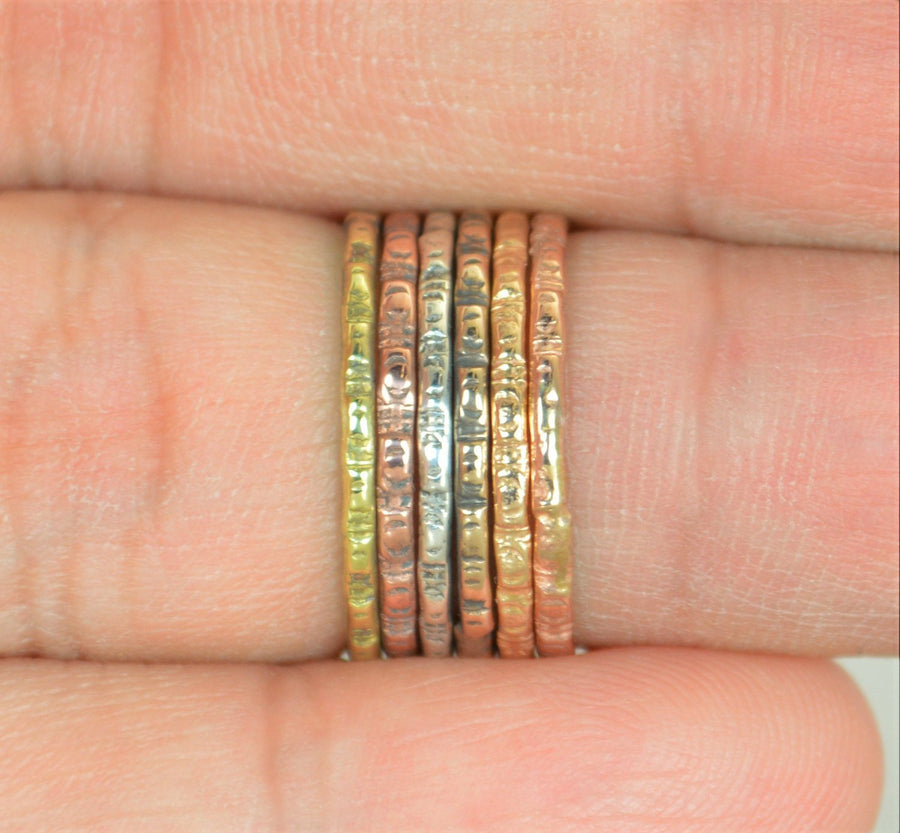Rustic Ripple Stacking Rings-G5