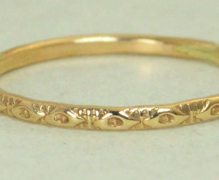 Heirloom 14k Gold Rustic Wedding Ring - G1