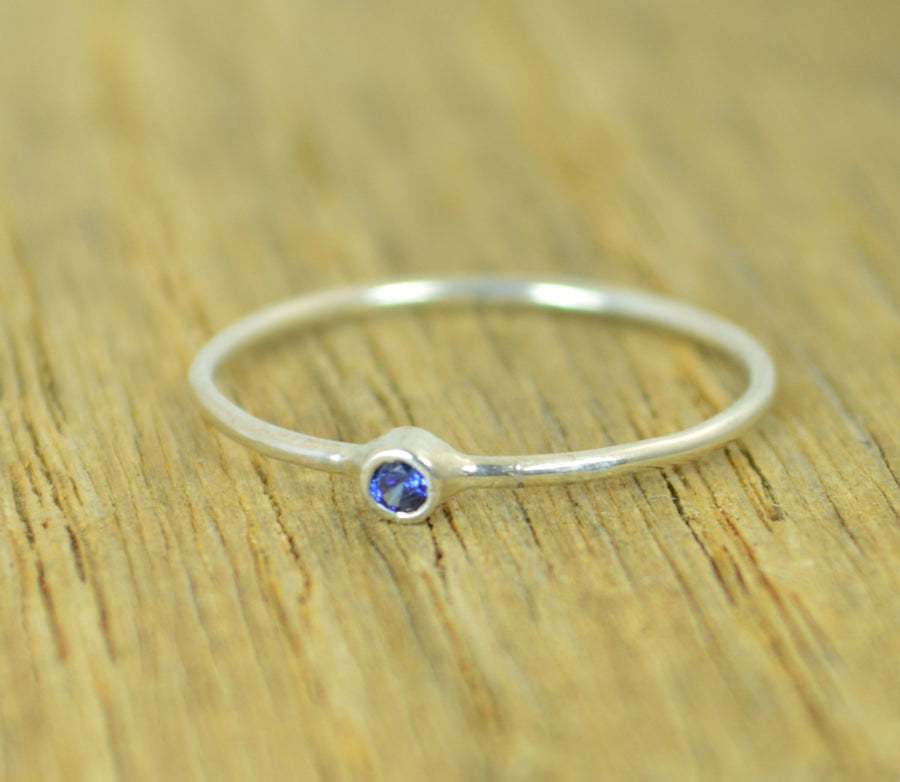 Tiny Sterling Silver Sapphire Ring