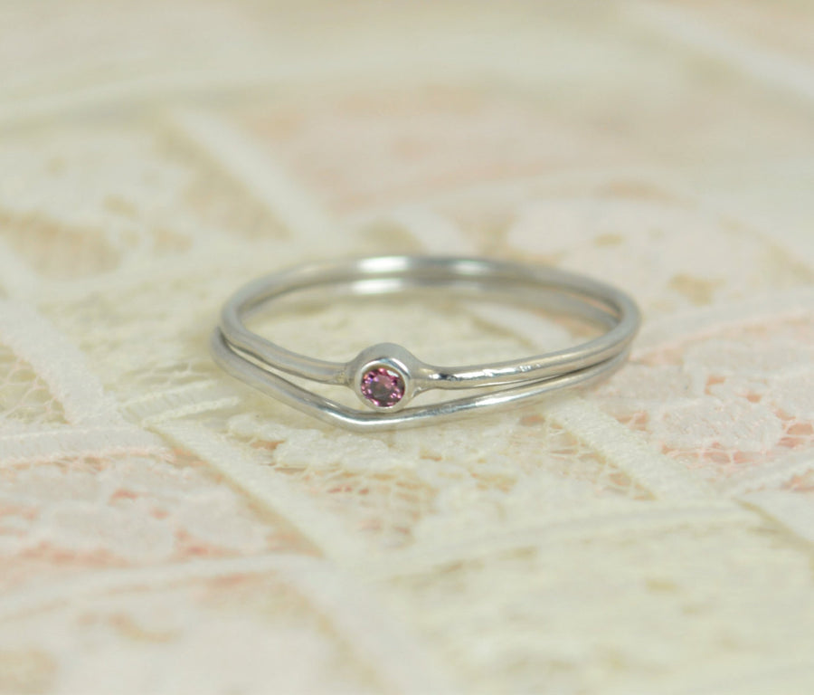 Tiny Alexandrite Ring Set, Solid White Gold Wedding Set, Stacking Ring, White Gold Alexandrite Ring, June Birthstone, Bridal Set, Gold