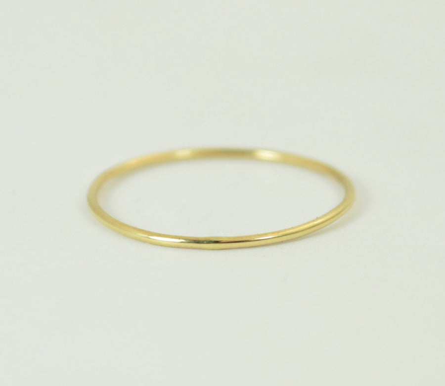 Solid 14k Yellow Gold Super Thin Round Stacking Ring