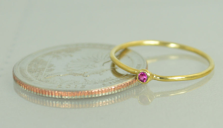 Tiny Solid 14k Gold Ruby Ring