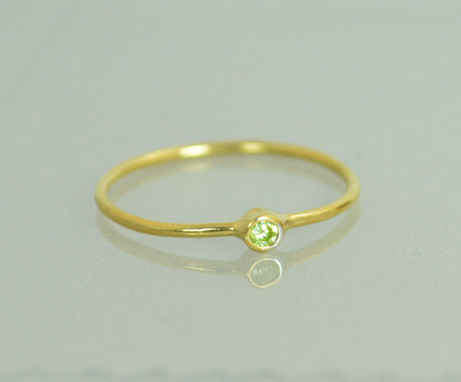 Tiny Solid 14k Gold Peridot Ring