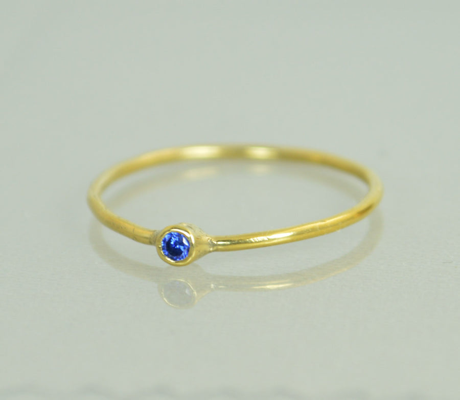 Tiny Solid 14k Gold Sapphire Ring