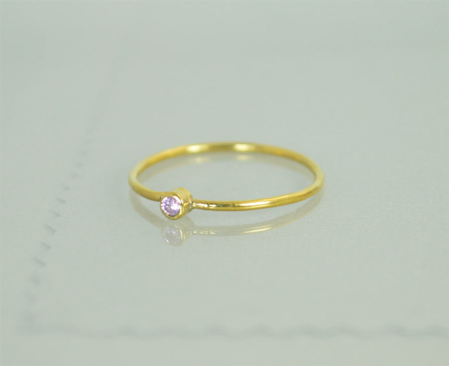 Tiny Solid 14k Gold Pink Tourmaline Ring