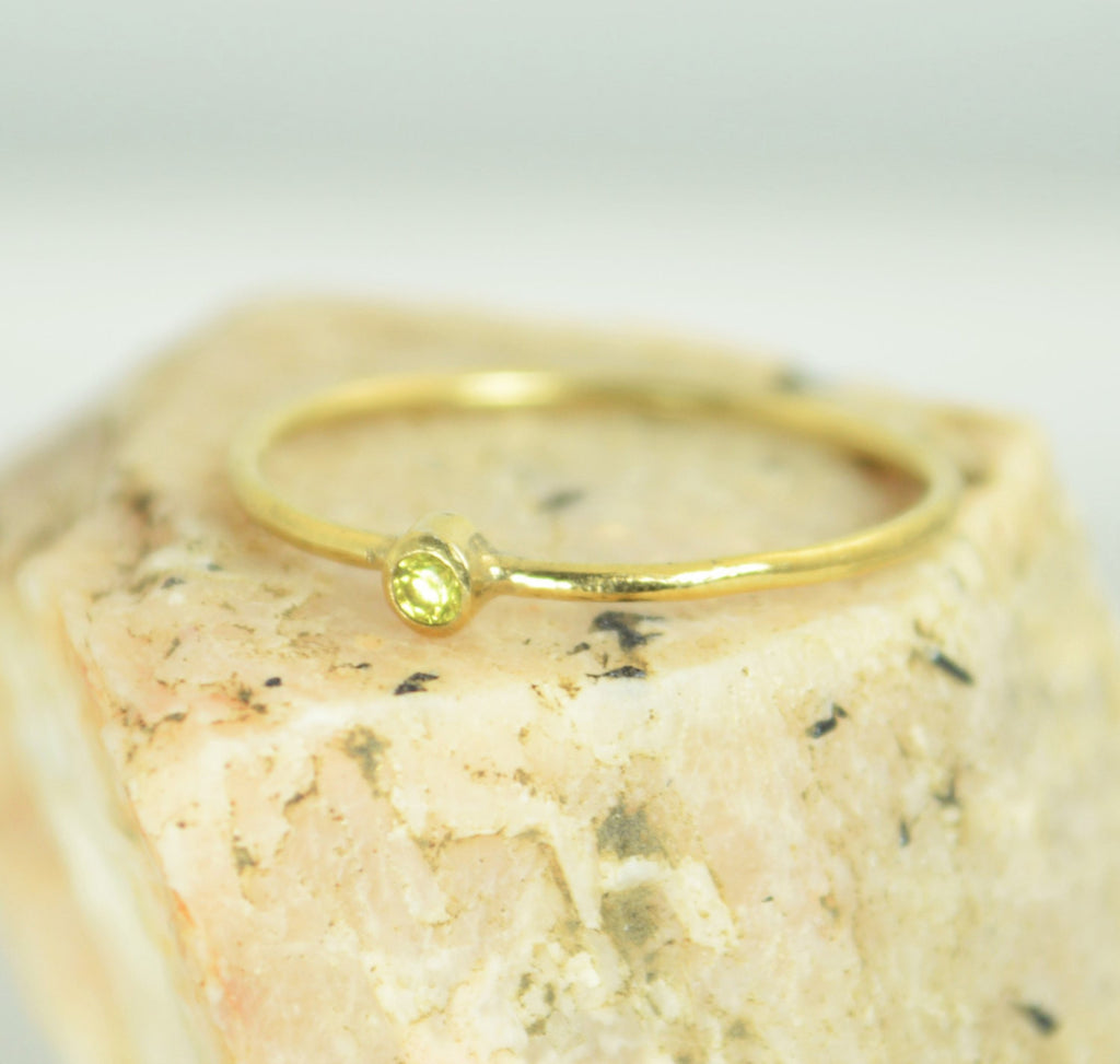 Tiny Solid Gold Topaz Ring