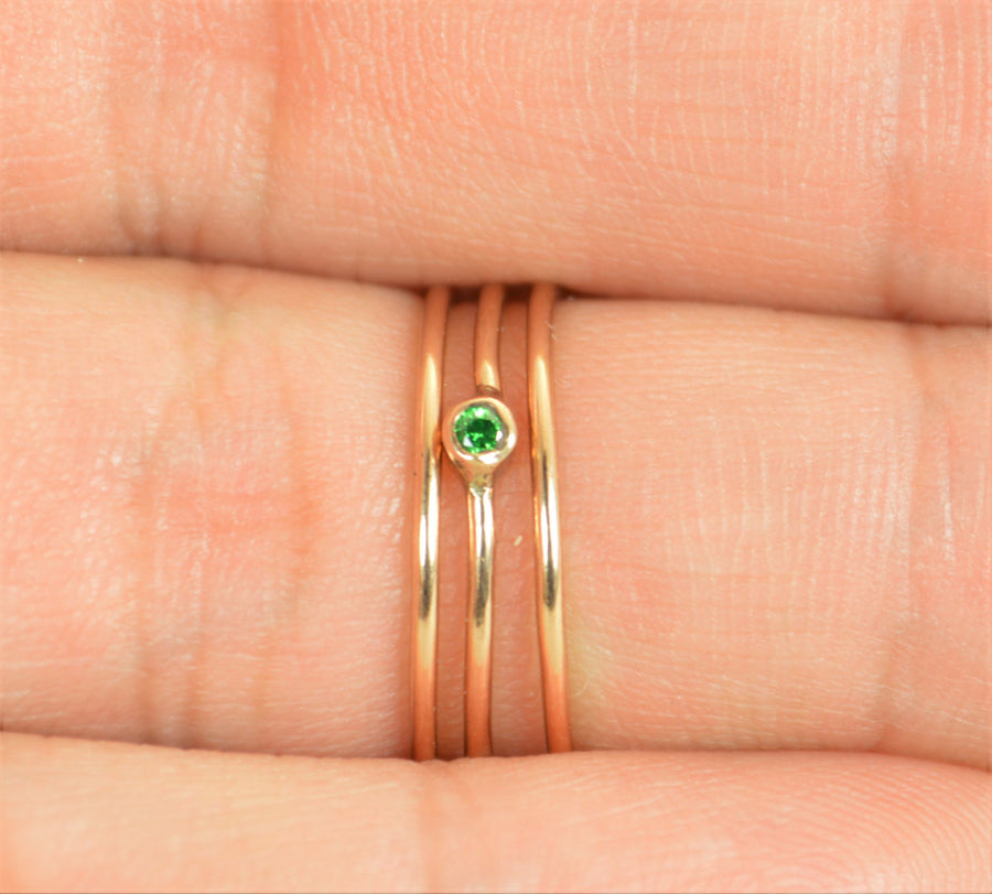 Tiny Emerald Rose Gold Filled Ring