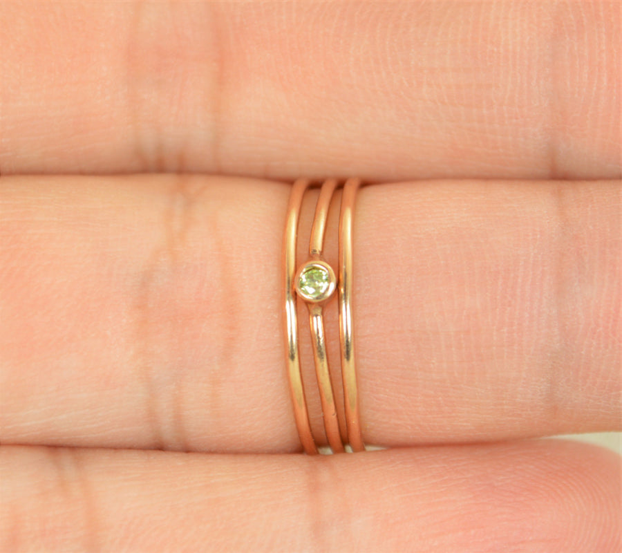 Tiny Peridot Rose Gold Filled Ring