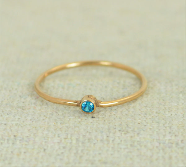 Tiny Rose Gold Filled Blue Zircon Ring